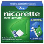 Nicorette Gum - Extreme Chill Mint - 2mg - 4 x 25's
