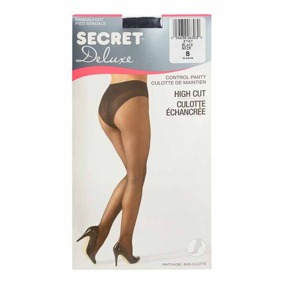 Secret Deluxe High Cut Lace Control Top Panty Hose - B - Black