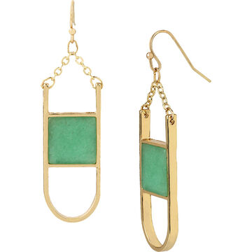 Haskell Stone Inlay Earrings - Mint/Gold
