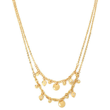 Haskell Two Row Crystal Necklace - Crystal/Gold