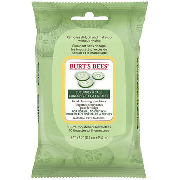 Burt's Bees Facial Cleansing Towelettes - Cucumber & Sage -10's