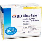 BD Ultra Fine II Insulin Syringe - 30 guage - 8mm - 100's