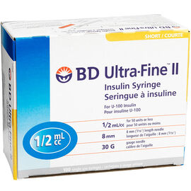 BD Ultra Fine II Insulin Syringe - 30 guage - 8mm - 100's