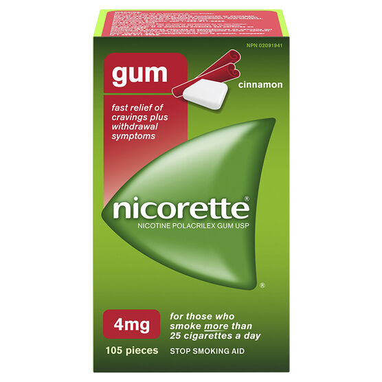 Nicorette Plus Coated Gum with Whitening - Cinnamon - 4mg Extra Strength - 105's