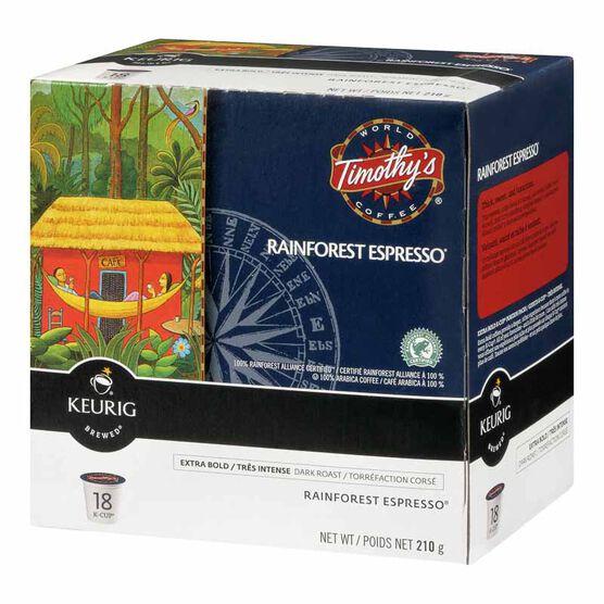 Keurig K-Cup Timothy's Pods - Rainforest Espresso - 18's