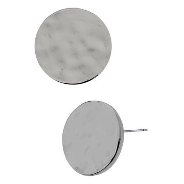 Kenneth Cole Shiny Disk Stud Earrings - Silver Tone