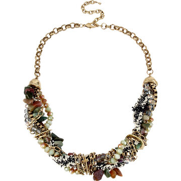 Haskell Twisted Necklace - Green/Gold