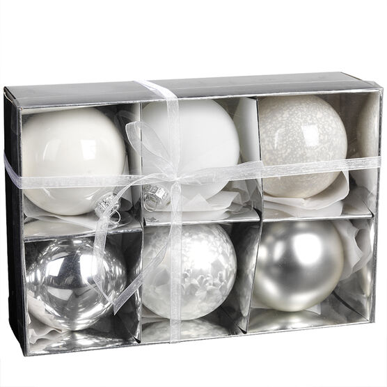 Christmas Glass Ball Ornaments - 6 pieces - White/Silver
