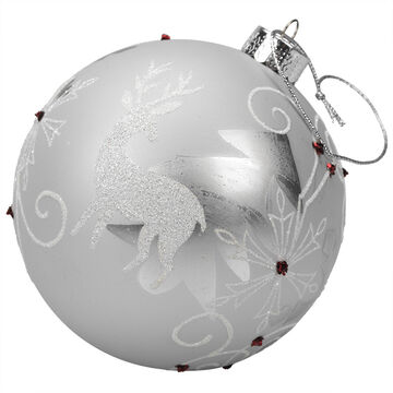 Winter Wishes Candy Cane Lane Ball Ornament - White Reindeer