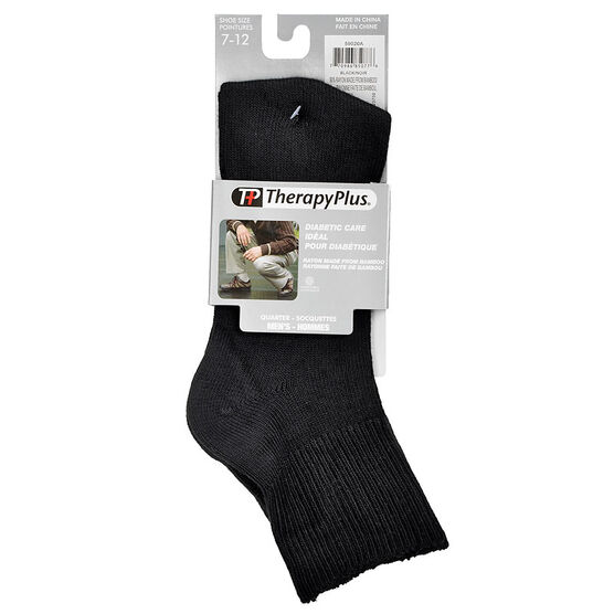 TherapyPlus Men's Diabetic Quarter Socks - Shoe Size 7-12 - Black - 2 pairs