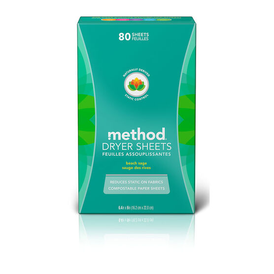 Method Dryer Sheets - Beach Sage - 80's