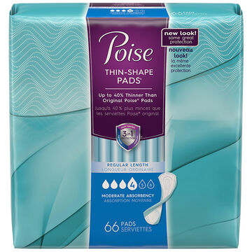 Poise Thin-Shape Pads - Moderate Absorbency - 66's