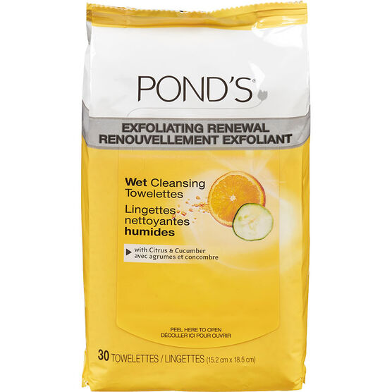 Pond's Cleansing and Exfoliating Towelettes - Citrus & Cucumber Scent - 30s