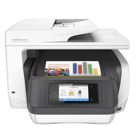HP OfficeJet Pro 8720 All-in-One Printer - White - M9L75A#B1H