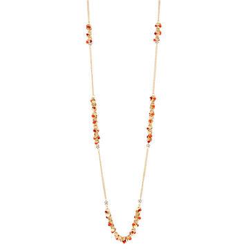 Haskell Beaded Station Necklace - Orange/Gold