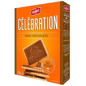 Leclerc Celebration Butter Cookies - Milk Chocolate - 240g