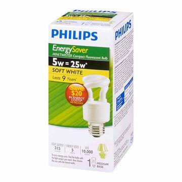Philips 5W Soft White Twist - Compact Fluorescent Lighting Light Bulb
