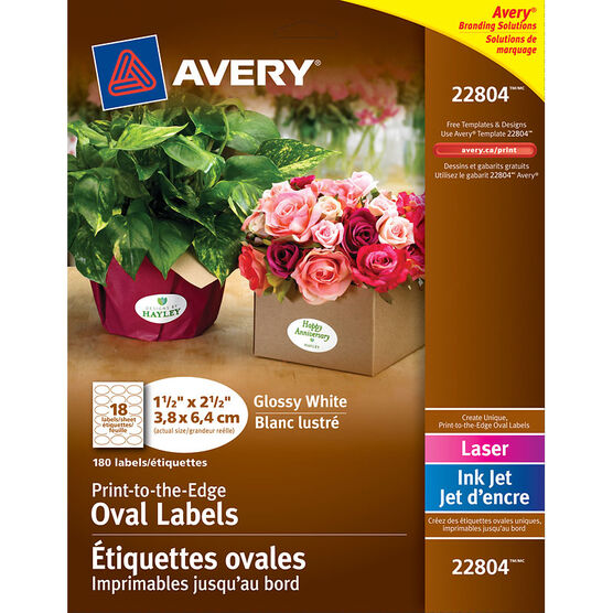 Avery Easy Peel Print-to-the-Edge White Oval Labels - 10 sheets