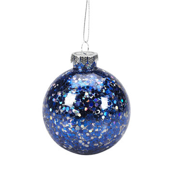 Winter Wishes Blue Ice Ball Ornament - Blue/Silver