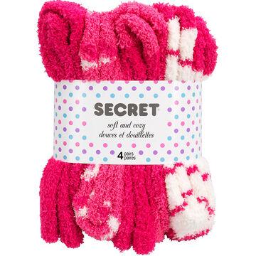 Secret Soft and Cozy Crew Socks - 4 pair - Assorted