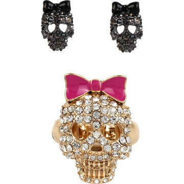 Betsey Johnson Skull Ring and Earrings Set - Crystal/Mixed