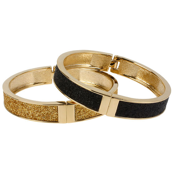 Betsey Johnson Duo Hinge Bracelets - Black & Gold Tone