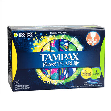 Tampax Pocket Pearl Compact Tampons - Regular 18's - Super - 16's