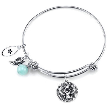 UNWRITTEN Stainless Steel Guardian Angel Expandable Bangle