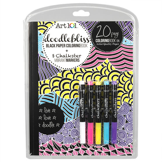Art 101 Doodlebliss Black Paper Colouring Book