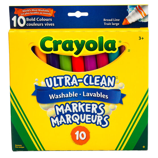 Crayola Ultra-Clean Washable Markers - Broad Line - Bold Colours - 10 Pack