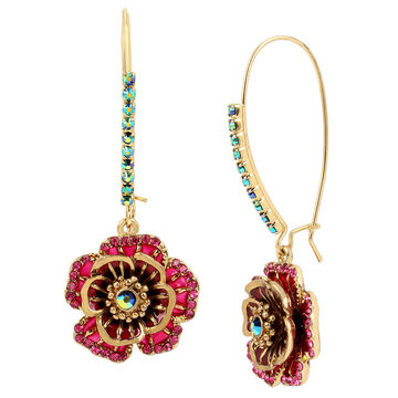 Betsey Johnson Flower Shepherd Hook Earrings - Multi/Gold