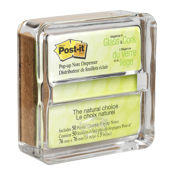 3M Post It Clear Glass & Cork Pop-Up Note Dispenser - 1 pack