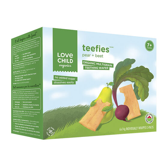 Love Child Teefies Organic Multigrain Teething Wafers - Pear + Beet - 84g