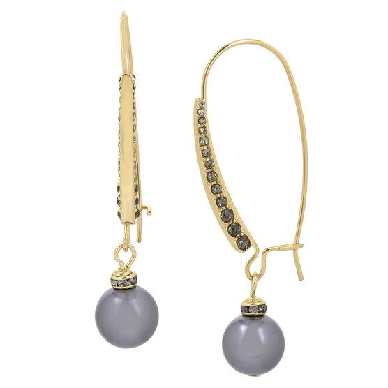 Kenneth Cole Shepherd Hook Earrings - Black Diamond/Gold