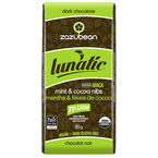 Zazubean Lunatic Dark Chocolate Bar - Mint and Cocoa Nibs - 85g