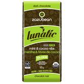 Zazubean Lunatic Dark Chocolate Bar - Mint and Cocoa Nibs - 85g