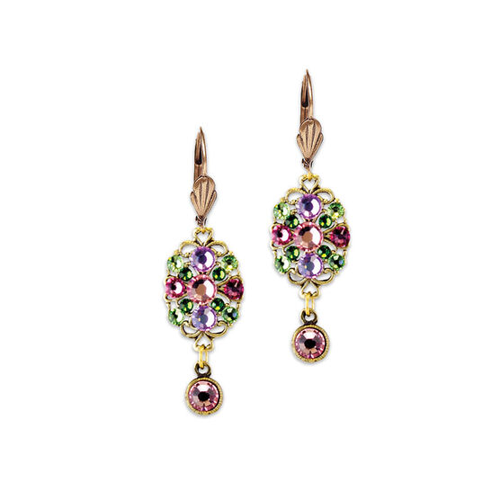 Anne Koplik Pink Oval Filigree Drop Earrings
