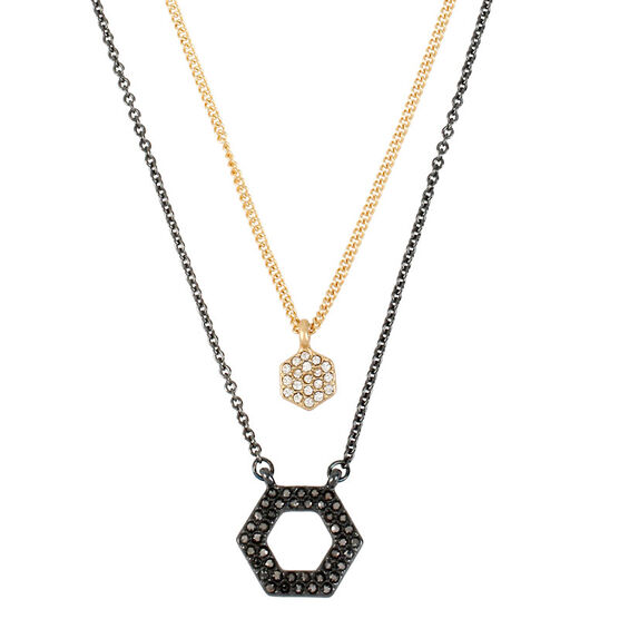 Kenneth Cole Double Hexagon Pendant Necklace - Two Tone