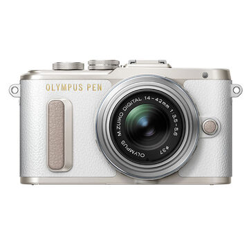 PRE-ORDER: Olympus PEN E-PL8 with 14-42mm IIR Silver Lens - White - V205081WU000