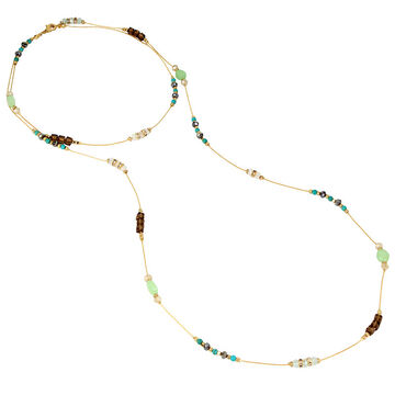 Haskell Spaced Beaded Necklace - Multi/Gold