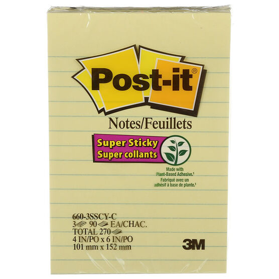 3M Super Sticky Post-it Notes - Canary Yellow - 6 x 4 inch - 3 Pack