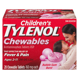 Tylenol* Children's Chewable Tablets Bubble Gum Burst - 160mg - 20's