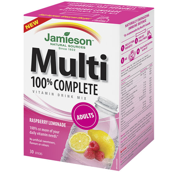 Jamieson Multi 100% Complete Vitamin Drink Mix Adults - Raspberry Lemonade - 30's