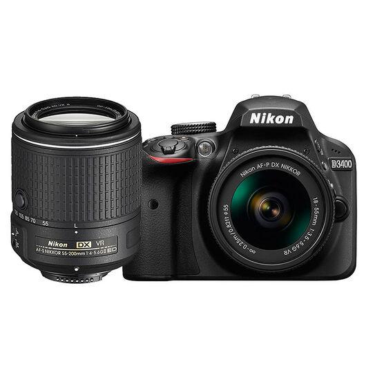 Nikon D3400 with AF-P DX 18-55mm VR and AF-S DX 55-200mm VR II Lens - PKG 24665