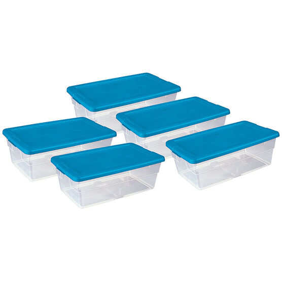 Sterilite Shoe Box - Blue Lid - 5.7L/5 pack