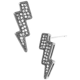 Betsey Johnson Lightning Bolt Stud Earrings - Silver Tone