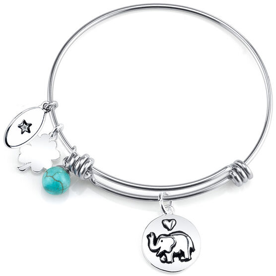 UNWRITTEN Stainless Steel Lucky Expandable Bangle