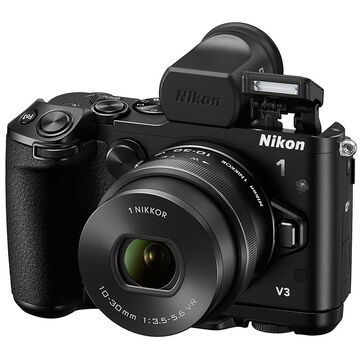 Nikon 1 V3 with VR 10-30mm Lens with Camera Grip & Electronic Viewfinder - Black - 34107