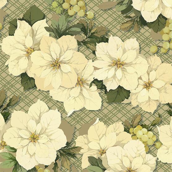Hallmark White Poinsettia Gift Wrap Roll - Elegant Golds - 0499XWR1860