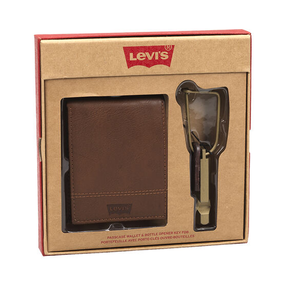 Levi's Passcase Wallet with Bottle Opener Key Fob - Brown